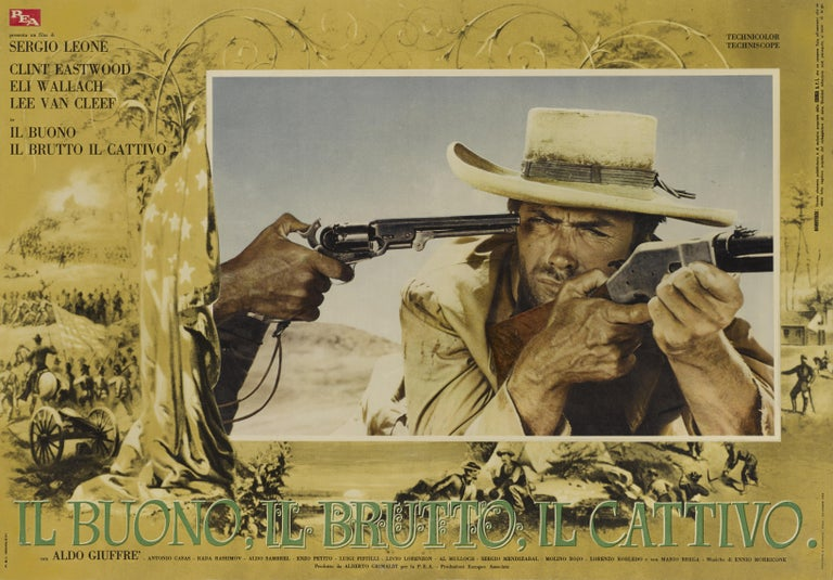 Original Italian film poster for the 1966 movie staring Clint Eastwood, Eli Wallach and Lee Van Cleef, directed by Sergio Leone. The Good, the Bad and the Ugly remains one of the greatest westerns of all time. This poster is linen backed and would