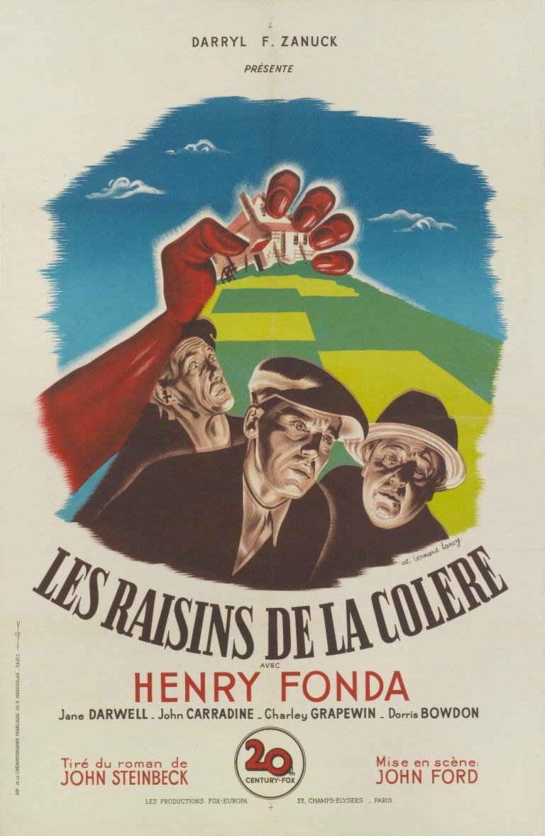 Original French film poster for the 1940 masterpiece directed John Ford and starred Henry Fonda, John Carradine, Jane Darwell. The striking artwork is by Bernard Lancy (1892-1964) and was used for the films first French release in 1947. The poster