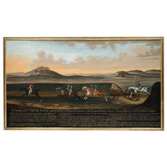 'The Great Carriage Match on Newmarket Heath' by Daniel Quigley, Oil on Canvas