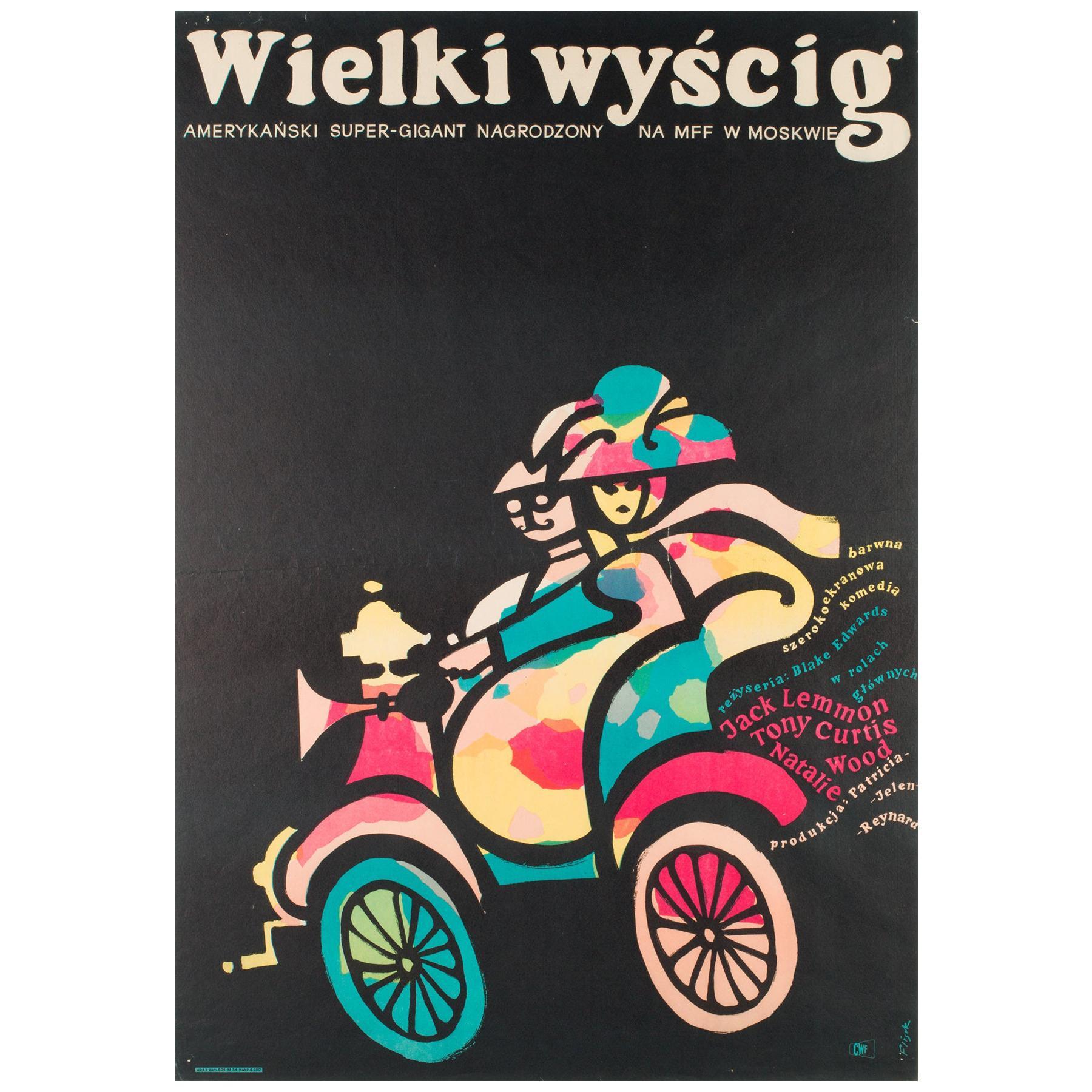 The Great Race Original Vintage Polish Film Poster, Jerzy Flisak 1966