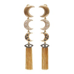 Guardian Moon with Tassels Gold Plated Silver Earrings