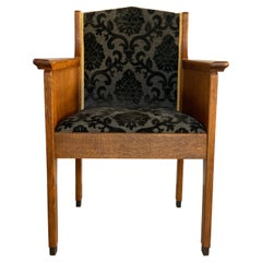 The Hague School Art Deco Oak Armchair, Hendrik Wouda, circa 1925