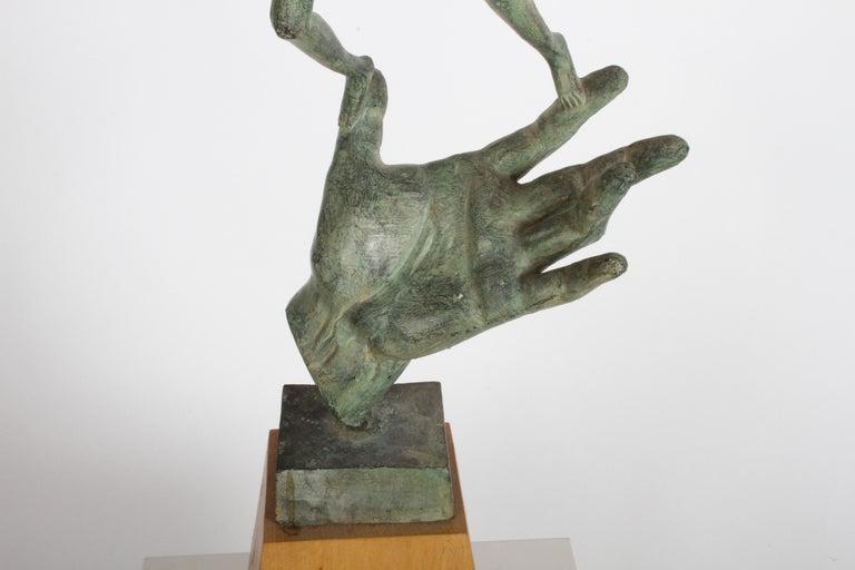 The Hand of God Bronze Sculpture After Carl Milles Sculptor  For Sale 12