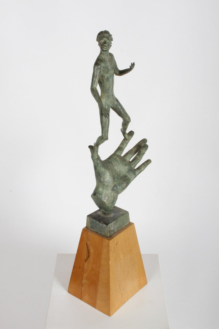 After Carl Milles (1875-1955) sculptor, bronze sculpture of his hand of god. This was one of three major commissions he received in the 1950s and completed before his death in 1955. It was created to honor Swedish Entrepreneur C.E. Johansson, the