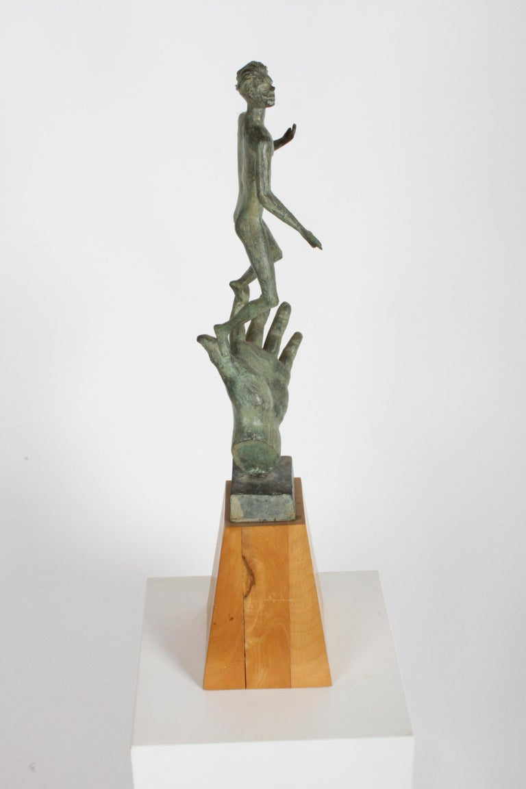 The Hand of God Bronze Sculpture After Carl Milles Sculptor  In Good Condition For Sale In St. Louis, MO