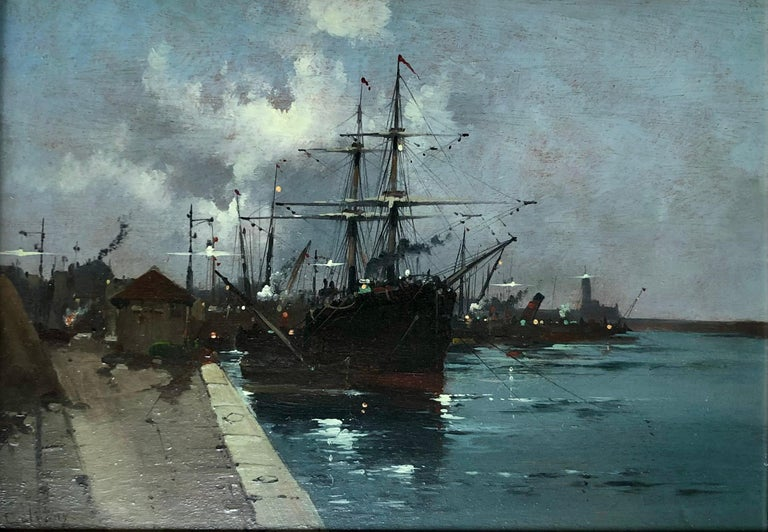 1854-1941 Eugene Galien-Laloue was a Parisian artist well-known for his street and village paintings. This is an oil on panel, signed lower left 'E. Galiany', one of the artists well known pseudonyms. Galien-Laloue was known to use a handful of nom