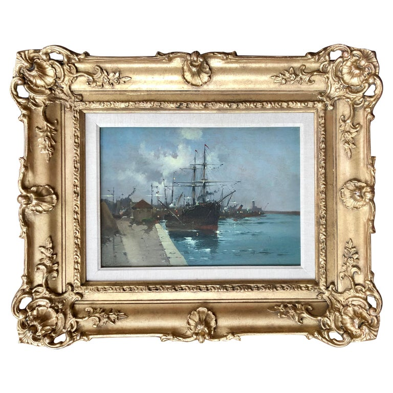 """""""The Harbor in Moonlight"""" by Eugene Galien-Laloue For Sale"""