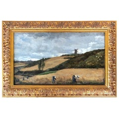"""The Harvest, Brittany"" Attributed to Julian Alden Weir, Exhibited"