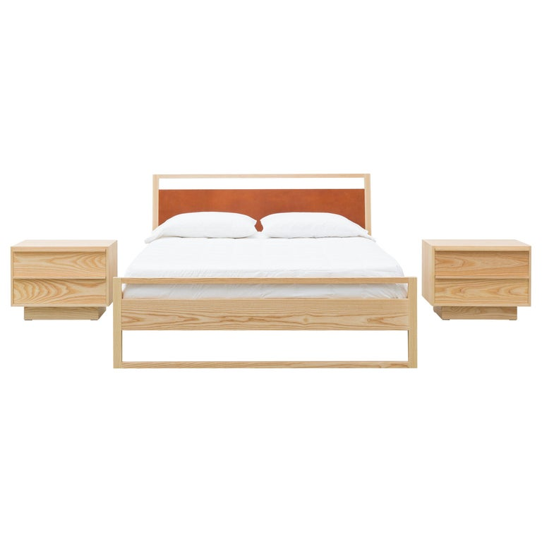 Heather Bed in Solid North American Hardwood and Leather Veneer For Sale