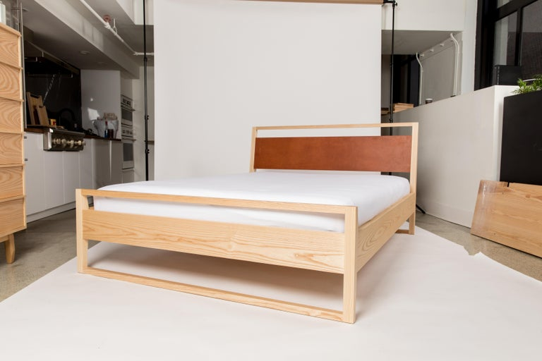 Heather Bed in Solid North American Hardwood and Leather Veneer In New Condition For Sale In Toronto, Ontario