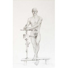 """""""The Helmet,"""" Early and Striking Drawing with Male Nude by John Lear"""