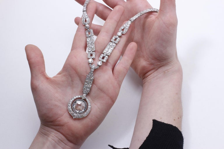 The Historic Art Deco Porges sautoir Necklace by Cartier: a incredible necklace (convertible into a bracelet) with a epic provenance. The center DOUBLE rose cut weighs 8.39 carats. One of the most unique diamonds in a historic jewel we have ever