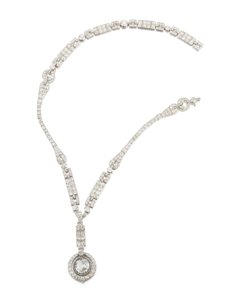 Rose Cut The Historic Art Deco Porges Sautoir Necklace by Cartier For Sale