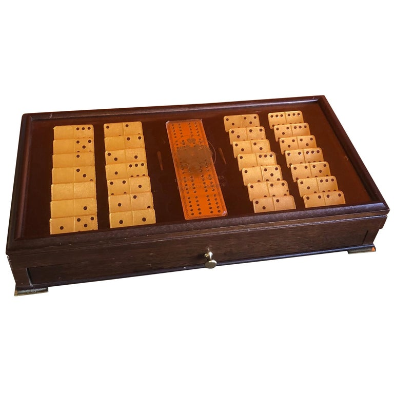 The House of Faberge 22-Karat Gold-Plated Imperial Domino Set and Case For Sale
