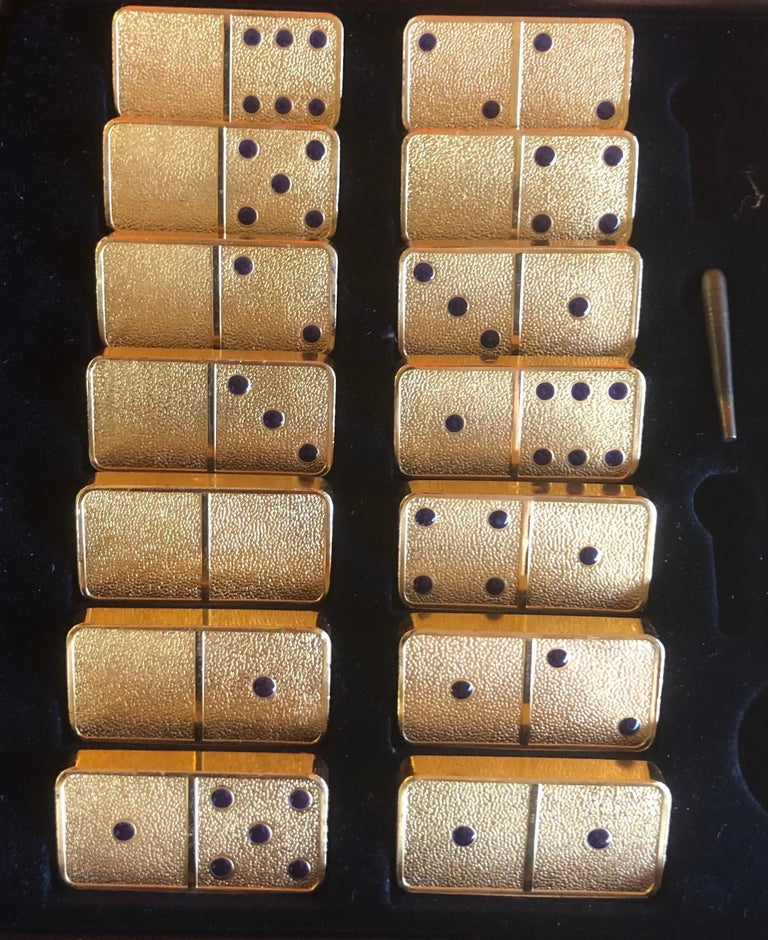 The House of Faberge 22-Karat Gold-Plated Imperial Domino Set and Case For Sale 5