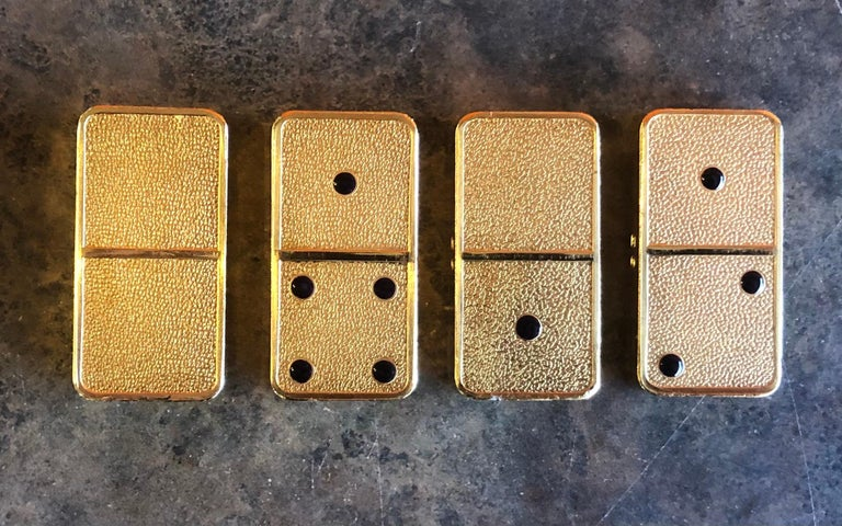 The House of Faberge 22-Karat Gold-Plated Imperial Domino Set and Case For Sale 7