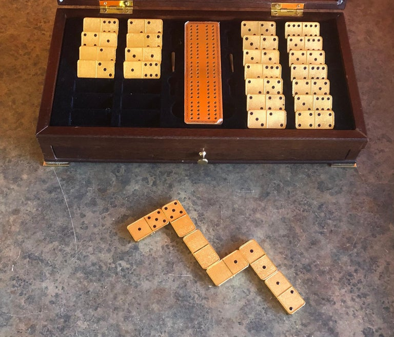 The House of Faberge 22-Karat Gold-Plated Imperial Domino Set and Case For Sale 9