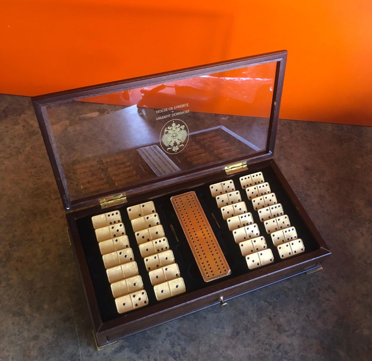 American The House of Faberge 22-Karat Gold-Plated Imperial Domino Set and Case For Sale