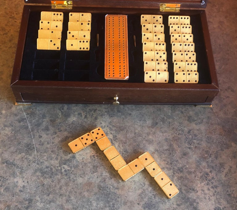 The House of Faberge 22-Karat Gold-Plated Imperial Domino Set and Case In Good Condition For Sale In San Diego, CA