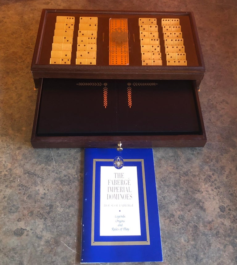20th Century The House of Faberge 22-Karat Gold-Plated Imperial Domino Set and Case For Sale