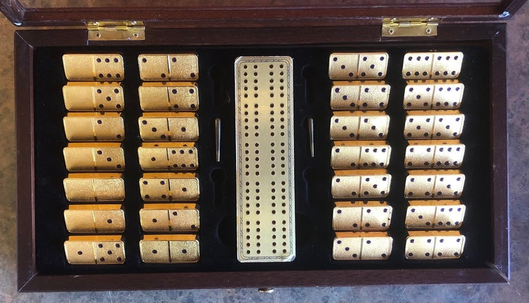 Gold Plate The House of Faberge 22-Karat Gold-Plated Imperial Domino Set and Case For Sale