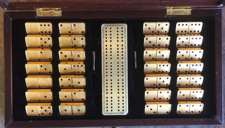 The House of Faberge 22-Karat Gold-Plated Imperial Domino Set and Case For Sale 2