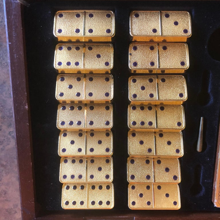 The House of Faberge 22-Karat Gold-Plated Imperial Domino Set and Case For Sale 3