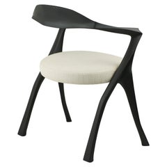 Howard- Organic, Sculptural, Hand Carved, Ebonized Contemporary Dining Armchair