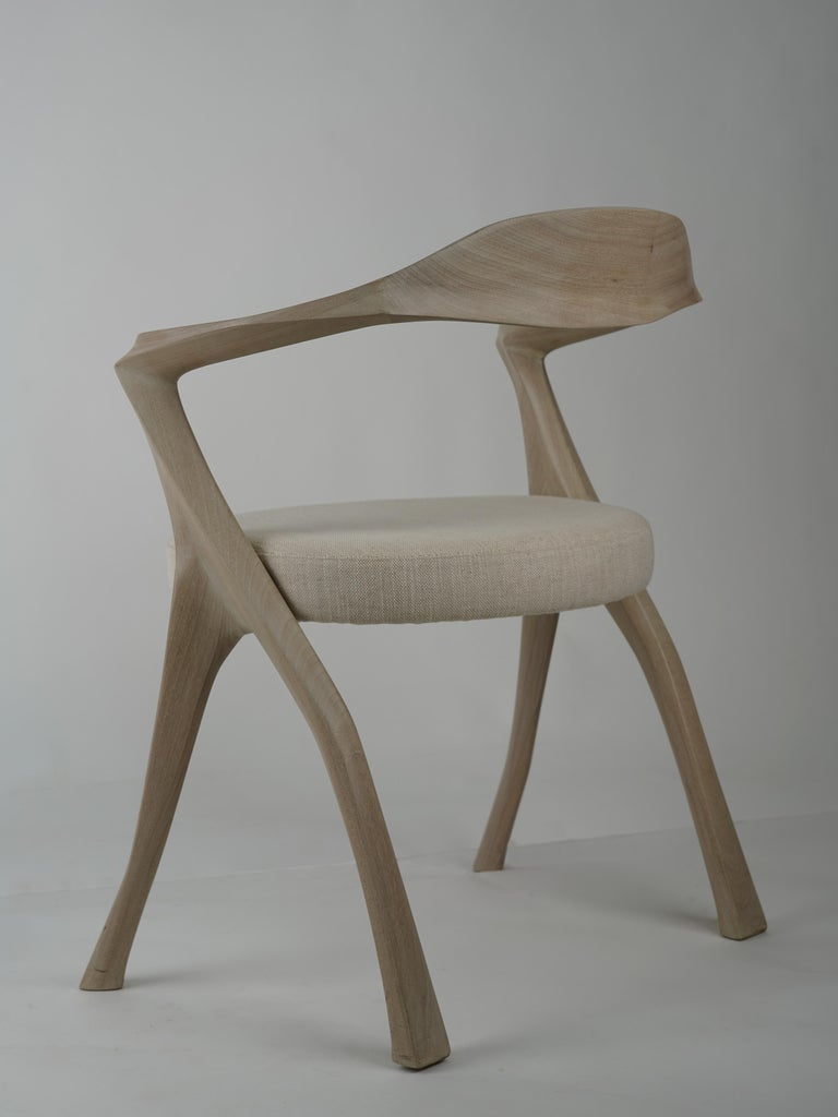 Modern HOMAGE CHAIR- Sculptural, Carved Dining Armchair - Cerused Sapele Wood For Sale