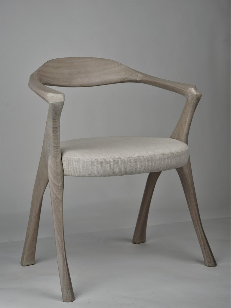 American HOMAGE CHAIR- Sculptural, Carved Dining Armchair - Cerused Sapele Wood For Sale