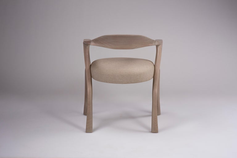 HOMAGE CHAIR- Sculptural, Carved Dining Armchair - Cerused Sapele Wood In New Condition For Sale In Hoboken, NJ