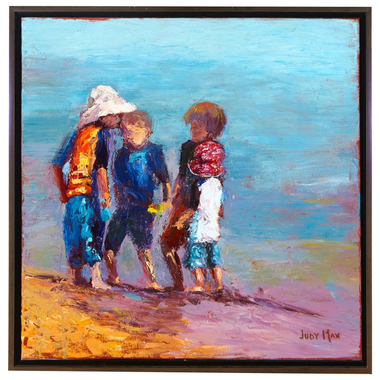 """The Huddle"" Modern Oil on Canvas Painting by Listed Artist Judy Max For Sale"