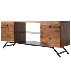 The Hudson, Modern Walnut and Powder Coated Steel Credenza