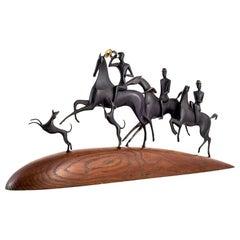 """""""The Hunt"""" Equestrian Sculpture Werkstatte Hagenauer Brass circa 1930s, Austrian"""