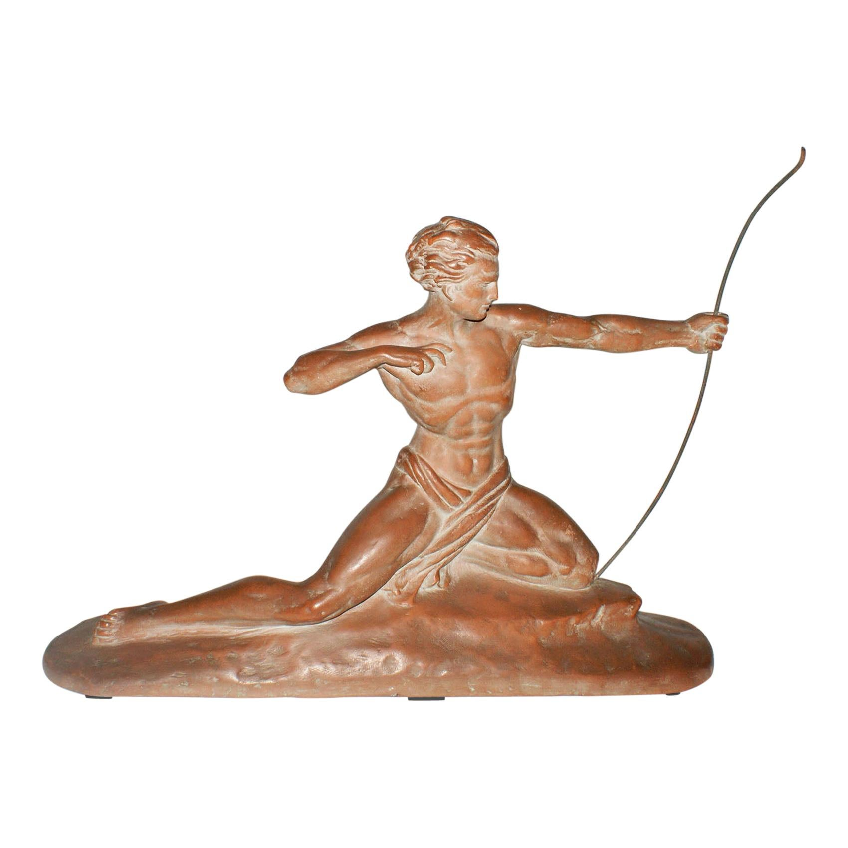 """""""The Hunter"""" French Terracotta sculpture signed by Cipriani"""