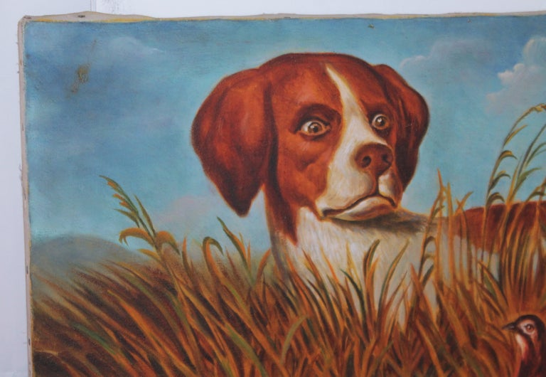 This painting is dated on the stretcher frame 1940 and the large over sized dog is a pointer or know as a bird dog. The birds are quail. This painting is amazing and very well done. The condition is very good and appears to be a small old repair.