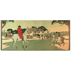 Hunting Scene, 4 Panel Hand Block Printed Frieze by H.Watkins Wild