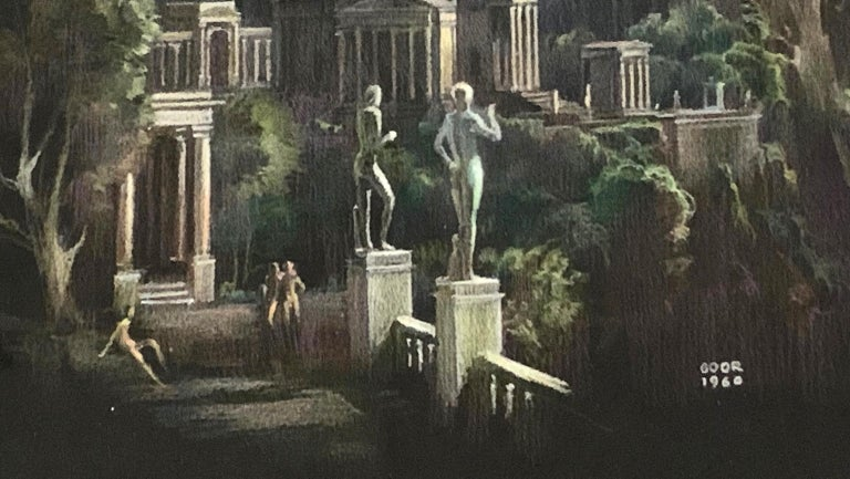 This idealized view of a Greek city of cliffside temples and columned walls climbing a craggy mountain is also the depiction of a homophile Shangri-La, where lithe nude male figures linger along the colonnades, and nude sculptures -- again of male