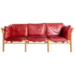 The Ilona Sofa in Red Patinated Leather with Natural Beech Frame by Arne Norell