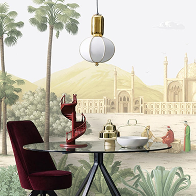 Superbly hand painted on Lurex silk, this magnificent wallpaper will add sophistication to a modern interior. Part of the Tour des Voyages collection, this piece is the version in colors of the incense trade route that connected the Mediterranean
