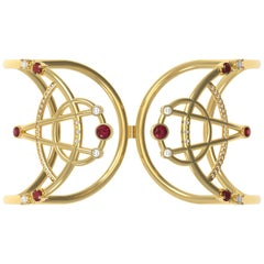 Interlocking Geometry Ruby and Diamond Gold Bracelet