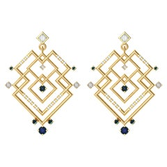 Alexia Gryllaki, Interlocking Geometry Sapphire and Diamond Gold Earrings