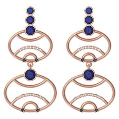Alexia Gryllaki, Interlocking Geometry Sapphire and Diamond Rose Gold Earrings