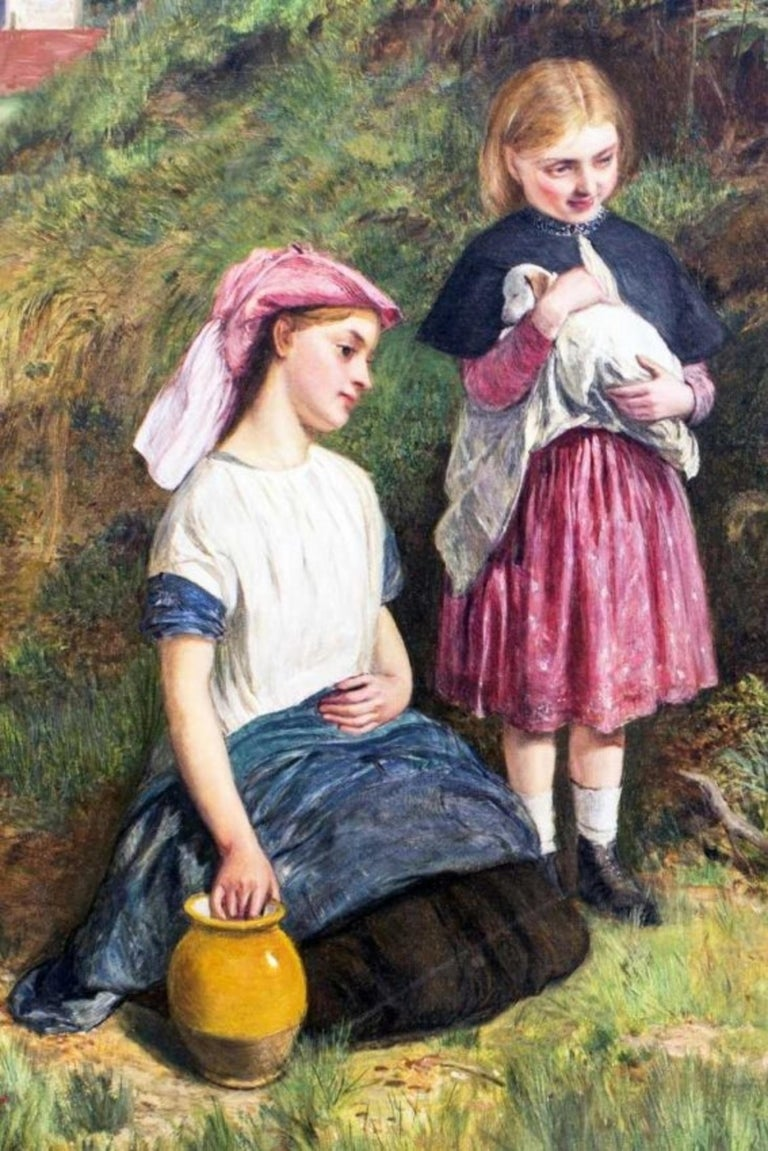 Mid-19th Century The Intruders, Oil on Canvas by Charles Sillem Lidderdale, Signed For Sale