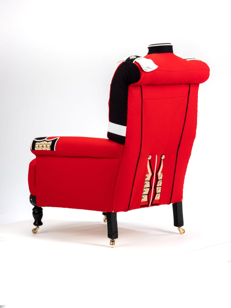 'The Irish Guards' Pair of Victorian Wing Back Armchairs, circa 1890 For Sale 10