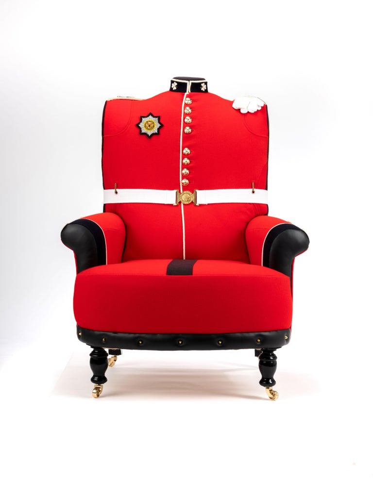 'The Irish Guards' Pair of Victorian Wing Back Armchairs, circa 1890 For Sale 14