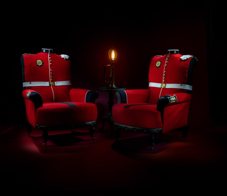 'The Irish Guards' Pair of Victorian Wing Back Armchairs, circa 1890 For Sale 15
