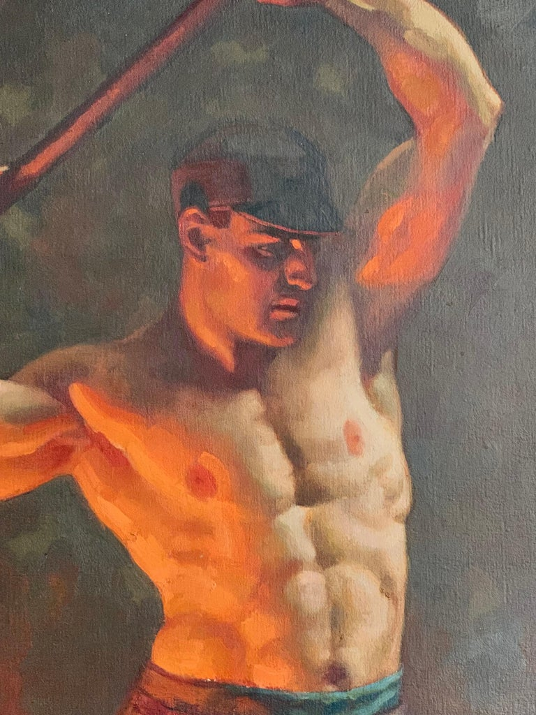 To our knowledge, this painting of an ironworker with his Hammer raised behind him, glowing from the furnace nearby, is the most important of a series of paintings by John Garth depicting American Industrial workers in the 1920s and 1930s. An