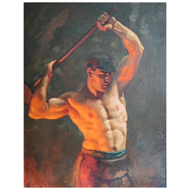 """""""The Ironworker,"""" Important Depiction of American Industrial Worker, John Garth For Sale"""