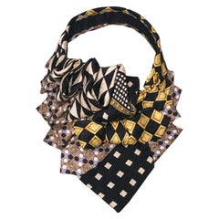 The Irresistible Ascot Vintage Versace Black and Yellow Silk Tie Necklace